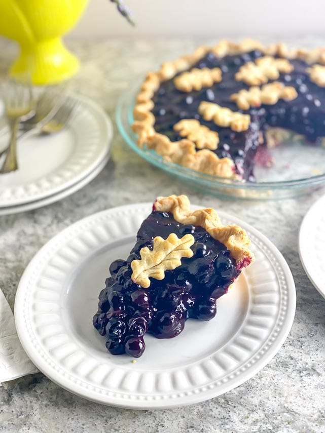 vertical image of low FODMAP Fresh Blueberry Pie on white gray quartz and white plate