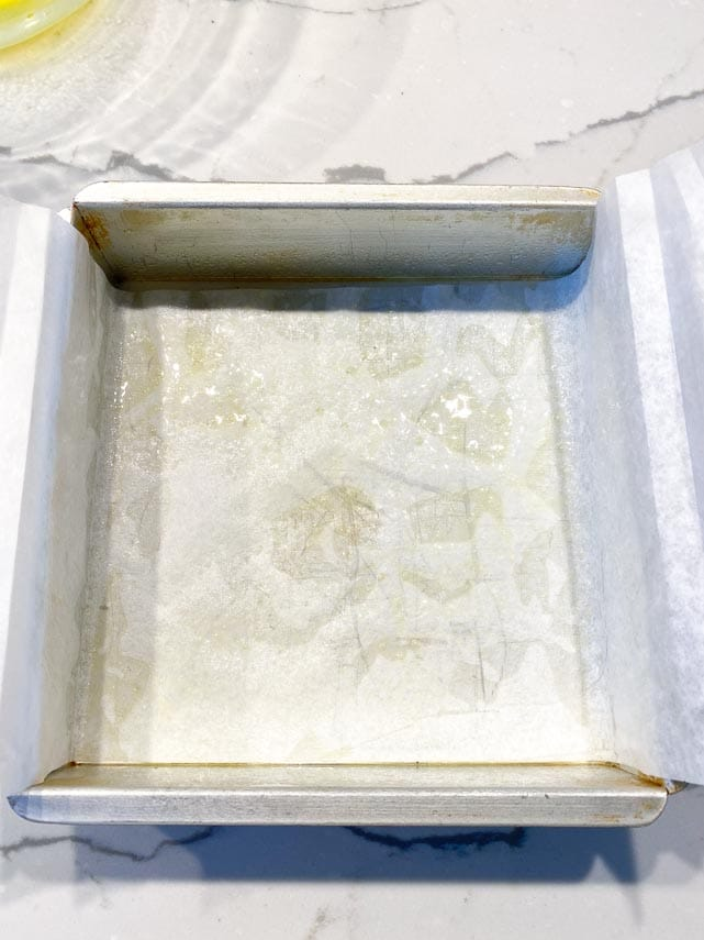 8-inch (20 cm) square pan, lined with parchment and coated with nonstick spray