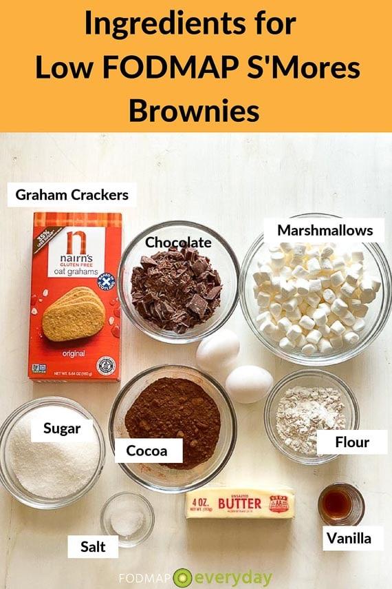 Ingredients for low FODMAP S'mores brownies
