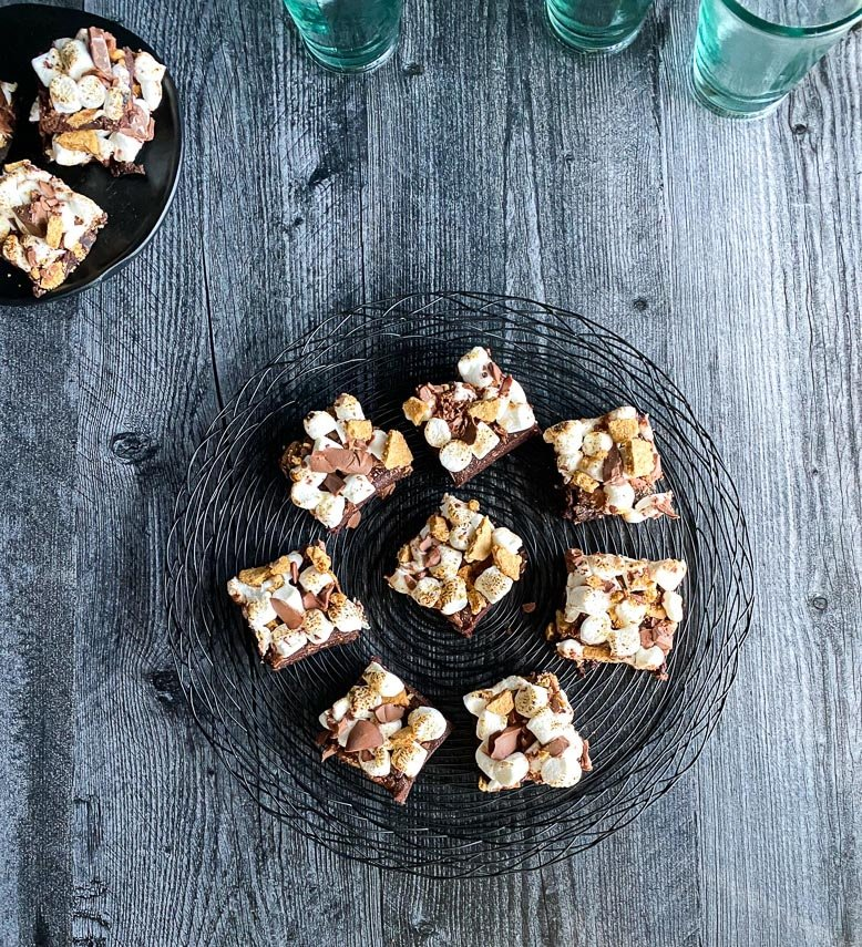 overhead low FODMAP S'Mores Brownies on black wire tray