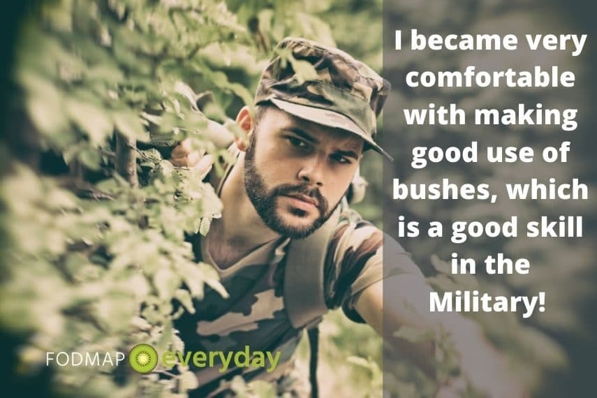 Soldier crouching in the bushes. Dealing with IBS in the Military