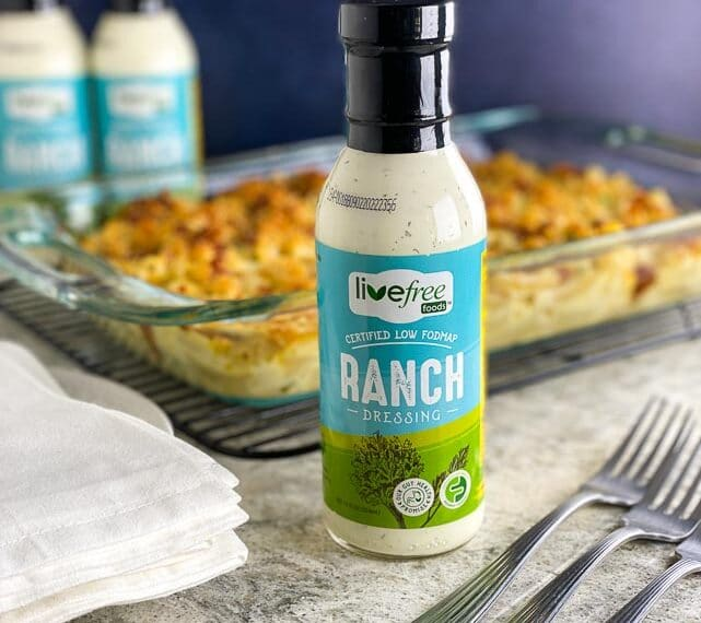 Live Free Ranch bottle with mac n cheese in background