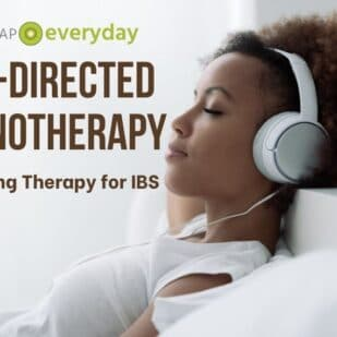 a woman in a white t-shirt and white headphones resting with her eyes closed - feature image for Gut-Directed Hypnotherapy article