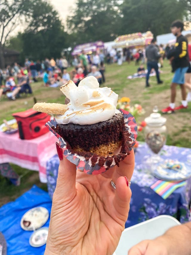 Low FODMAP S'Mores Cupcake held in hand outdoors at picnic