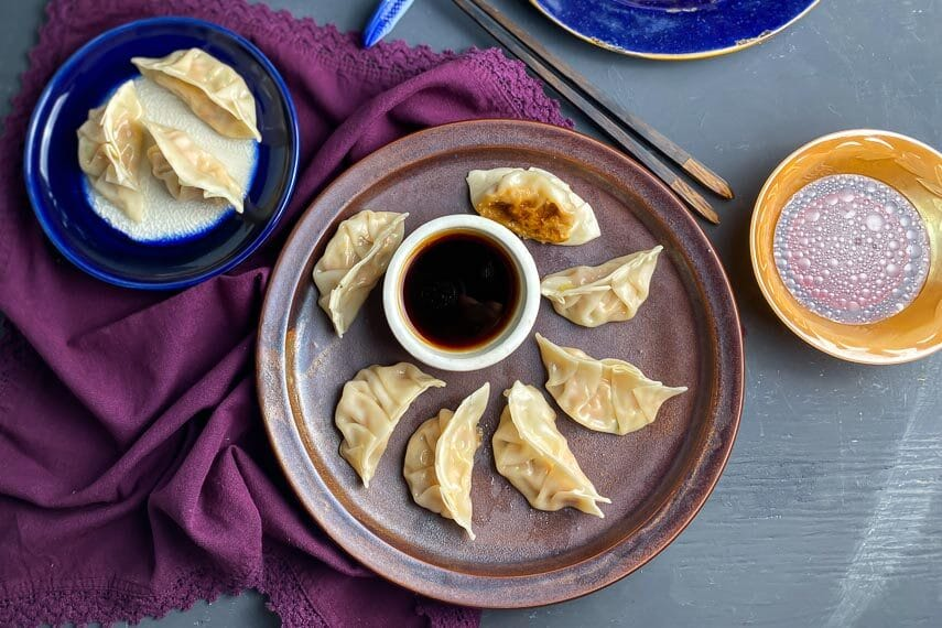 low FODMAP Pork Dumplings on brown plate with dipping sauce in white bowl 1