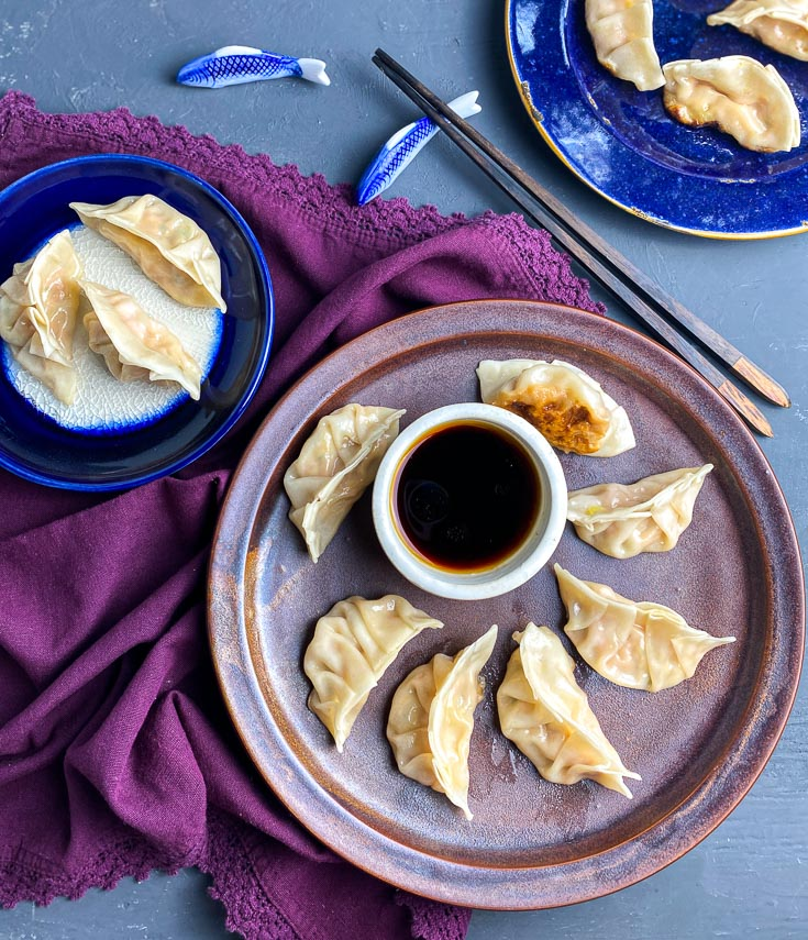 low FODMAP Pork Dumplings on brown plate with dipping sauce in white bowl 3