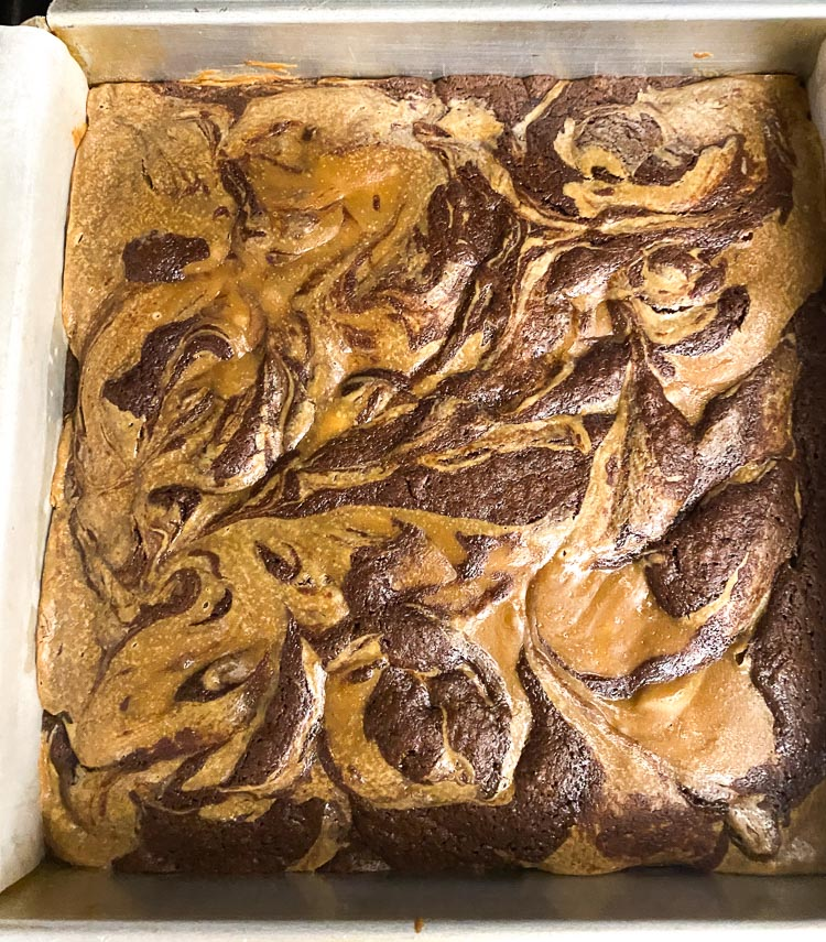 espresso cheesecake brownies, fresh out of the oven