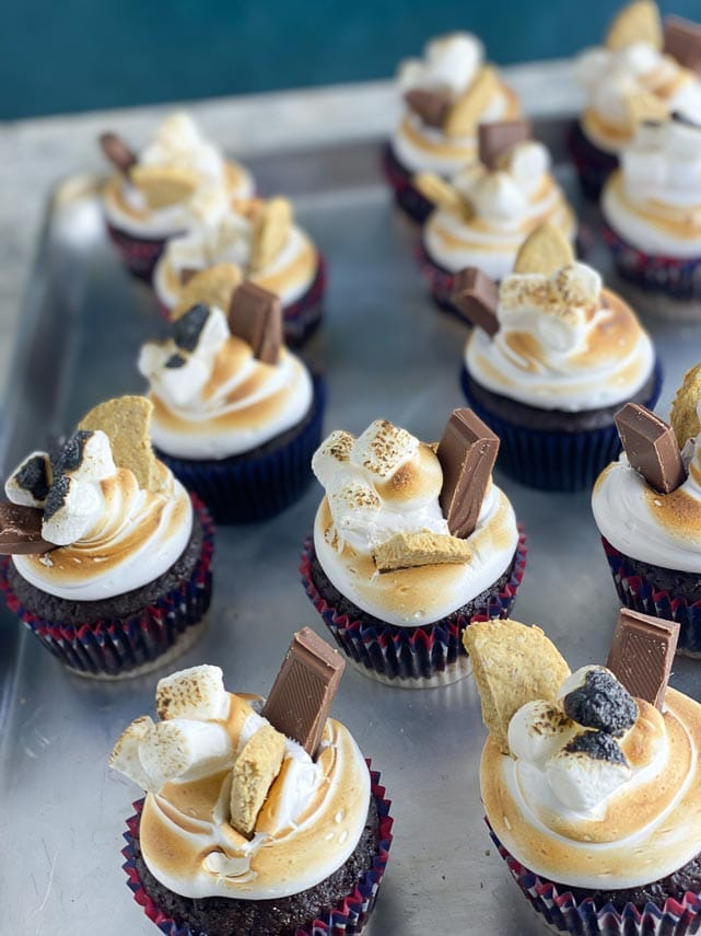 s'mores cupcakes on sheet pan