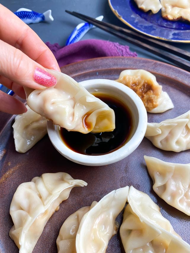 woman's hand dipping pork dumplings into sauce