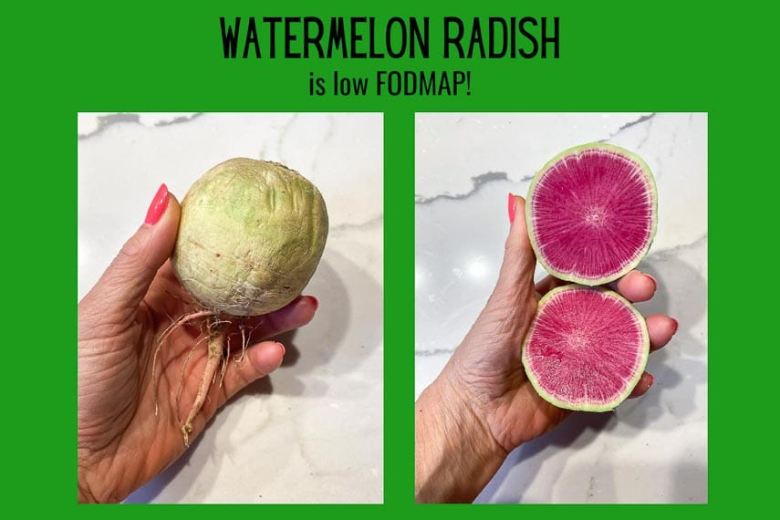 graphic of whole and cut open watermelon radish