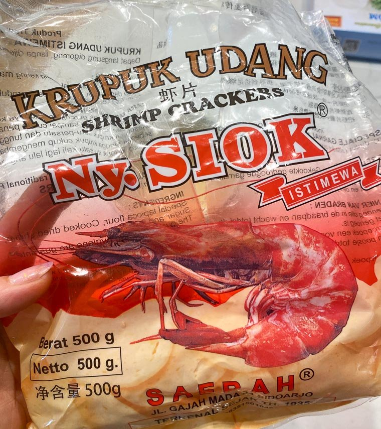package of stick shaped shrimp crackers