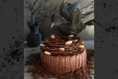 main image of Low FODMAP Chocolate Cake with Mocha Frosting, decorated for Halloween