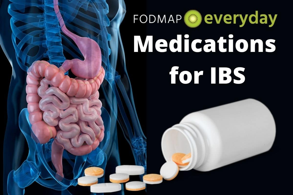 A graphic of a human body with the intestinal system highlighted, next to a medication bottle with pills spilling out. Feature image for Medications for IBS